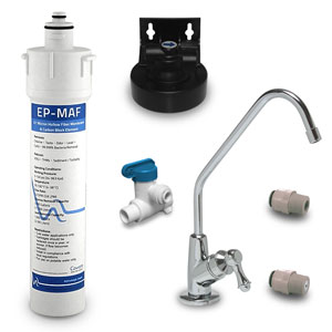 CA Ware EP-MAF Residential Drinking Water System w Bacteria, Lead & Cyst Removal - Includes Faucet and Installation Kit