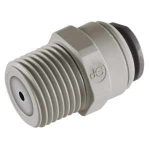 "John Guest 1/4"" JG × 3/8"" NPTF Male Connector with 1 GPM Flow Restrictor"