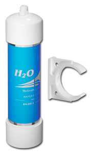 "H2O International Ice Maker Water Filter w/ Granular Activated Carbon, KDF & 1/4"" Quick Connect Fittings"
