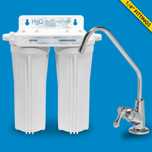 Twin Housing Under Sink Filter w/ Pentek CBR2-10R & KDF/GAC cartridges