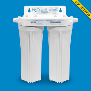 Inline Twin Housing Under Sink Filter w/ Pentek CBR2-10 & KDF/GAC cartridges - Uses Your Sink Faucet
