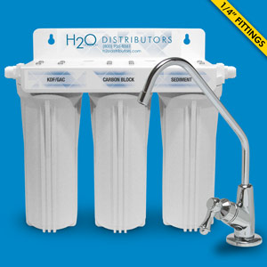 Triple Housing Under Sink Filter w/ Pentek CBR2-10R , KDF/GAC & LF-PP-005-249