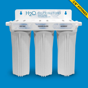 Inline Triple Housing Under Sink Filter w/ Pentek CBR2-10, KDF/GAC cartridges & LF-PP-005-249 - Uses Your Sink Faucet