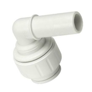 "John Guest 3/4"" CTS × 3/4"" Plug-In Elbow (White Polypropylene)"