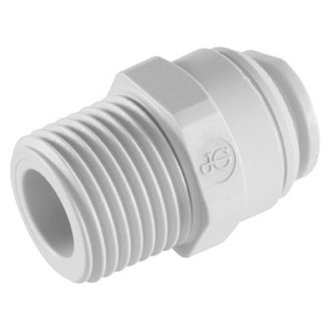"John Guest 1/2"" x 3/8"" NPTF Male Connector (White Polypropylene)"