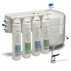 Hydrotech Aqua Flo Quick-Change 50 GPD Reverse Osmosis System w/ Air Gap Faucet & Storage Tank