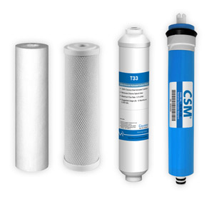 4-Stage, 100 GPD Reverse Osmosis Replacement Cartridge Kit w/ CSM Membrane