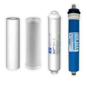 4-Stage, 100 GPD Reverse Osmosis Replacement Cartridge Kit w/ Filmtec Membrane