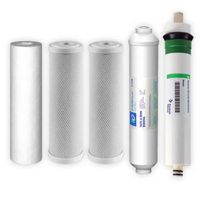 5-Stage, 50 GPD Reverse Osmosis Replacement Cartridge Kit w/ Pentair Membrane