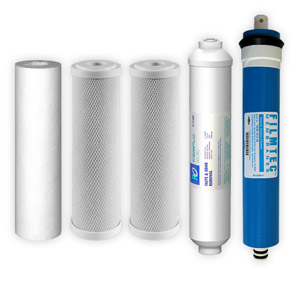 5-Stage, 50 GPD Reverse Osmosis Replacement Cartridge Kit w/ Filmtec Membrane