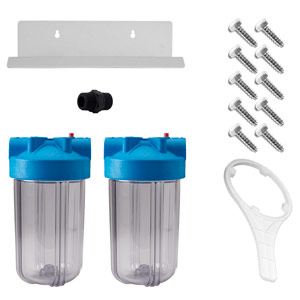 "Dual 10"" x 4.5"" Clear Full Flow/BB Housing Assembly - - 1"
