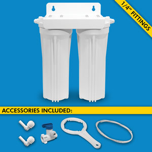 "Dual Stage Under Sink System w/ 1/4"" Tubing & Ball Valve (No Cartridges or Faucet)"
