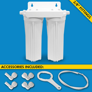 "Dual Stage Under Sink System w/ 3/8"" Tubing & Fittings (No Cartridges) - Uses Your Sink Faucet"