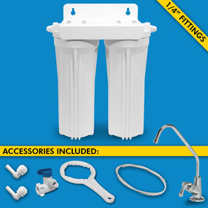 "Dual Stage Under Sink System w/ Faucet, 1/4"" Tubing & Ball Valve (No Cartridges)"