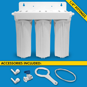 "Triple Stage Under Sink System w/ 1/4"" Tubing & Ball Valve (No Cartridges or Faucet)"