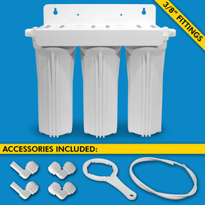 "Triple Stage Under Sink System w/ 3/8"" Tubing & Fittings (No Cartridges) - Uses Your Sink Faucet"