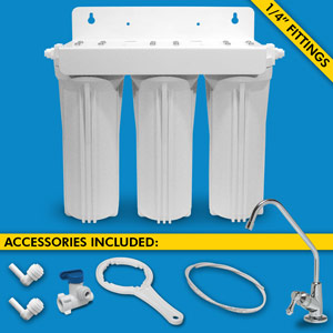 "Triple Stage Under Sink System w/ Faucet, 1/4"" Tubing & Ball Valve (No Cartridges)"