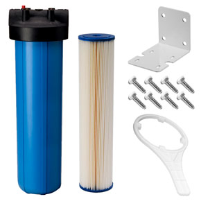 "20"" x 4.5"" Blue 5 Micron Sediment Filter Kit for UV System w/ 3/4"" Ports"
