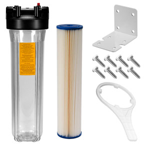 "20"" x 4.5"" Clear 5 Micron Sediment Filter Kit for UV System w/ 3/4"" Ports"