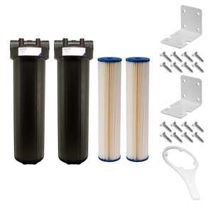 "Dual 20"" x 4.5"" Blue 5 Micron Sediment Filter Kit for UV System"