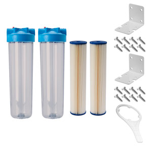 "Dual 20"" x 4.5"" Clear 5 Micron Sediment Filter Kit for UV System"