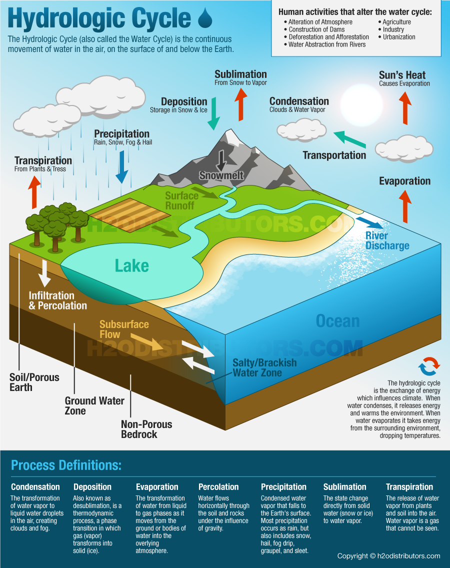 The Hydrologic Cycle Water Cycle H2o Distributors