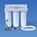 Triple Housing Under Sink Water Filter with Pentek CBR2-10R, KDF/GAC & Sediment Prefilter