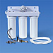 Metered Triple Housing Under Sink System with Pentek CBR2-10R, KDF/GAC & Sediment Prefilter